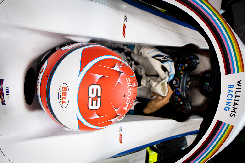 George Russell prepares for qualifying at the 2020 Styrian Grand Prix